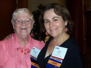 Julie Campbell, right, with her good friend Marlene Cook at an NFPW conference.